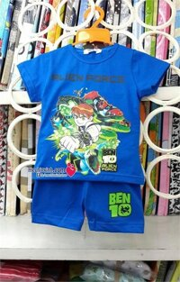 Bộ áo phông quần đùi hè bé trai hình siêu nhân Ben10 - xanh/ xám/ đỏ