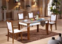 Bộ bàn ghế ăn gỗ cao cấp mặt đá Hòa Phát BA130 + 4GA130