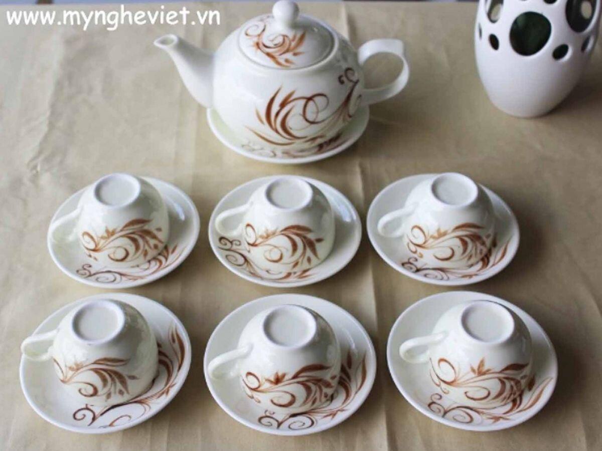 Bộ bình trà men kem vẽ hoa MNV-TS007