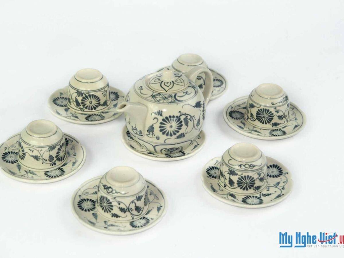 Bộ bình trà tròn hoa cúc MNV-BT316