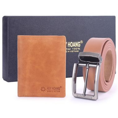 Bộ Bóp & dây nịt nam Huy Hoàng da bò HH2107-HH4119