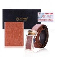 Bộ Bóp & dây nịt nam Huy Hoàng da bò HH2121-HH4115