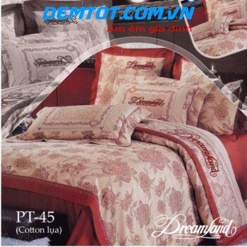 Bộ chăn ga gối Dreamland cotton lụa NK PT45