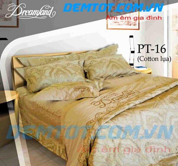 Bộ chăn ga gối Dreamland cotton lụa NK PT16