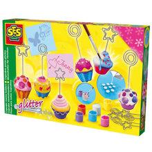 Bộ đồ chơi đổ khuôn và tô màu Cupcake kẹp hình SES 14525SES