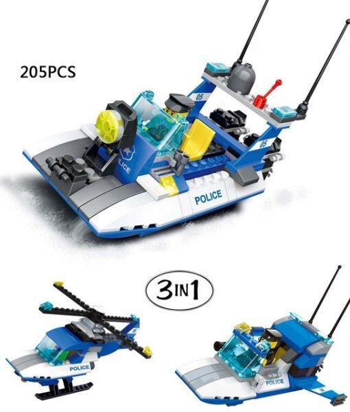 Bộ đồ chơi lego xếp hình Wange - Cảnh sát biển 3 in 1 (mẫu B)
