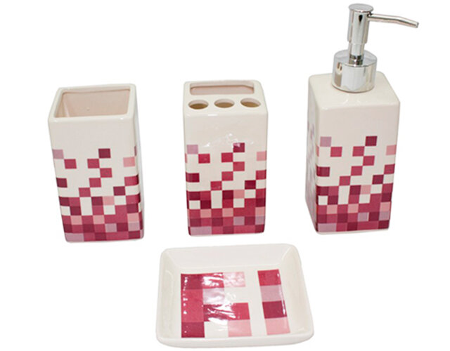 Bộ đồ dùng nhà tắm bằng sứ 4 món (22 mẫu mã) CE.16-001