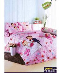 Bộ ga trải giường Toto 264 màu hồng họa tiết đám cưới