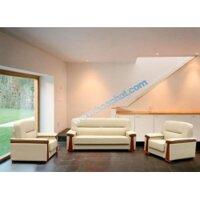Bộ ghế Sofa phòng khách cao cấp  bọc PVC đen SF34-3