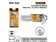 Bộ lục giác 9 cây 1.5 - 10mm Ingco HHK11091