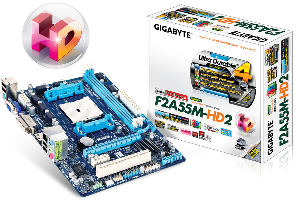 Bo mạch chủ (Mainboard) Gigabyte GA-F2A55M-HD2 - Socket FM2, AMD A55, 2 x DIMM, Max 64GB, DDR3