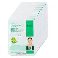 Bộ mặt nạ collagen chiết xuất trà xanh Dermal Green Tea Collagen Essence Mask 10 gói/bộ