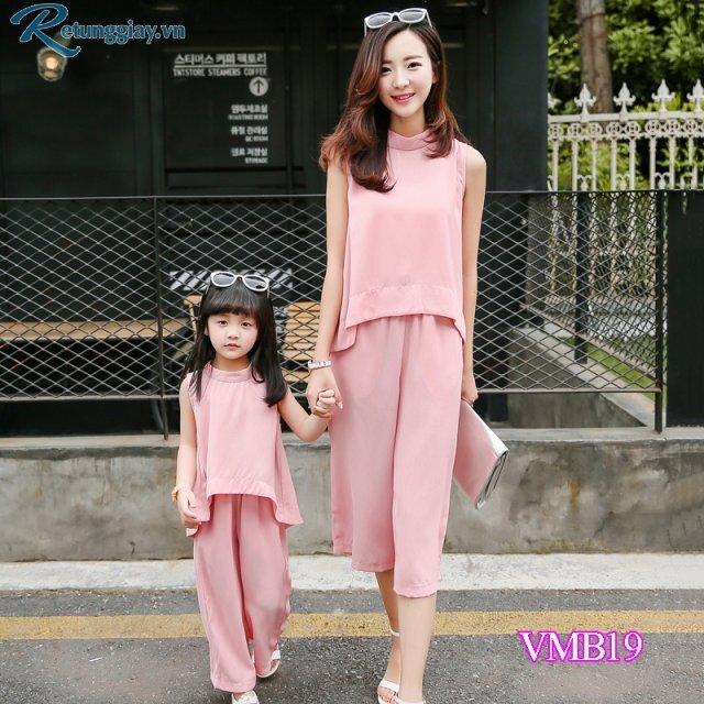 Bộ nguyên bộ áo sát nách quần ống rộng Mẹ và Bé VMB19