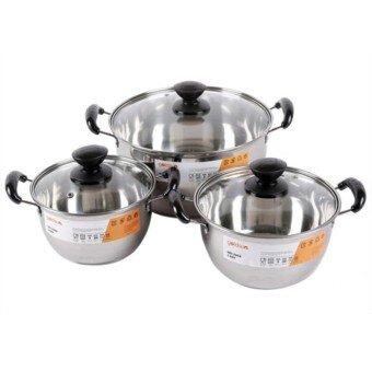 Bộ nồi chảo inox dùng được cho bếp từ Goldsun GE21-3305SG