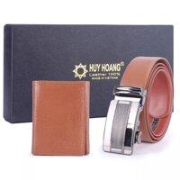 Bộ ví và dây lưng nam Huy Hoàng da bò HH4125-HH3136