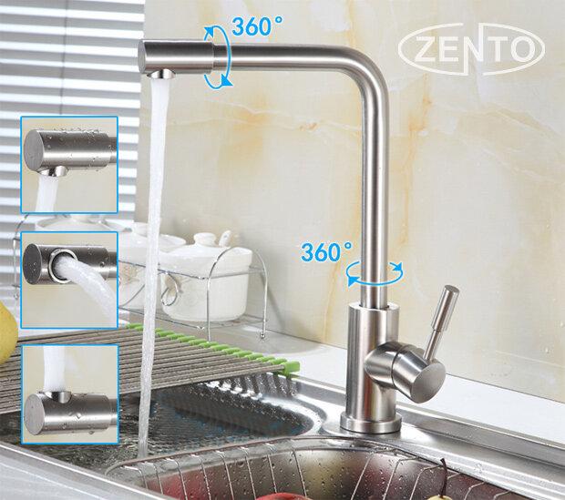 Bộ vòi rửa bát nóng lạnh inox 304 Zento SUS5575