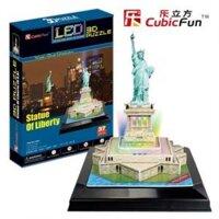 Bộ xếp hình 3D Tượng nữ thần tự do Statue of Liberty đèn LED Cubic Fun L505H