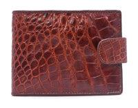 Bóp nam da cá sấu nút bấm màu nâu HH2217- Huy Hoàng