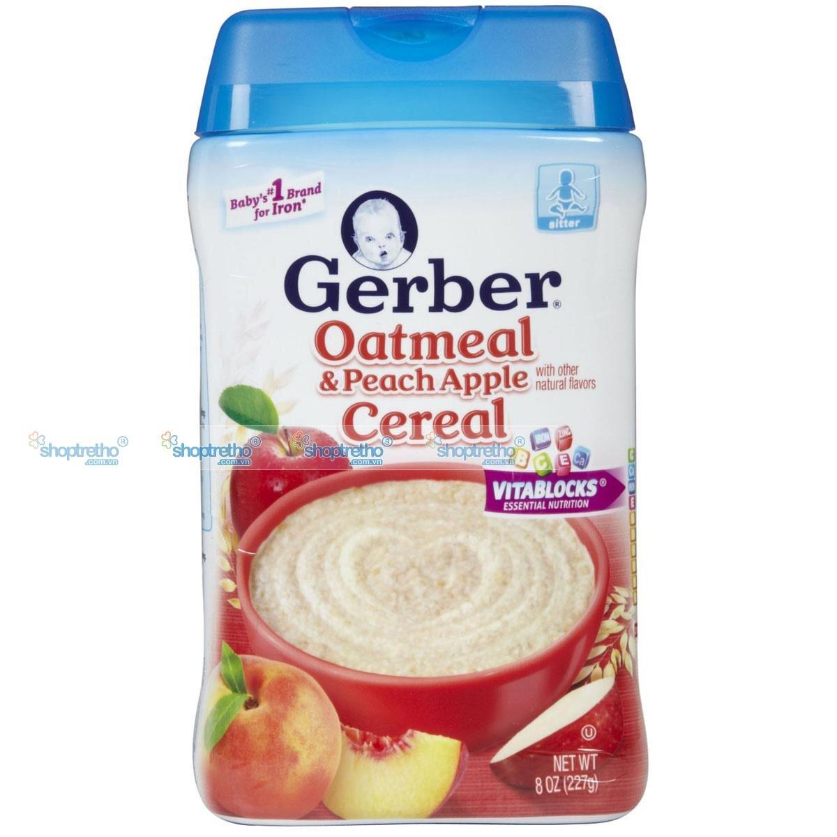 Bột ăn dặm Gerber yến mạch đào táo 227g