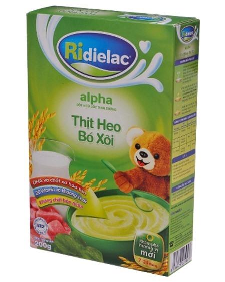Bột ngũ cốc heo bó xôi Ridielac Alpha – 200g