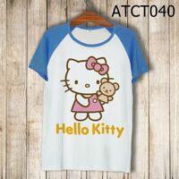 Áo thun tay màu Kitty cầm gấu ATCT040