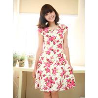 Đầm Vintage họa tiết hoa sang trọng Cirino