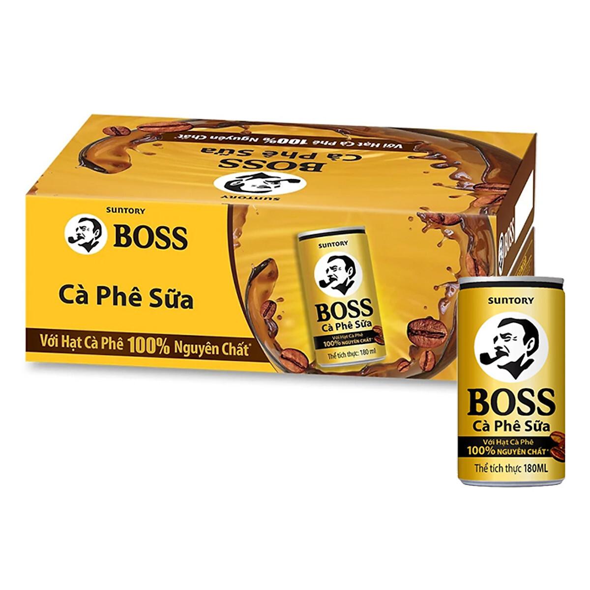 Cà phê sữa Boss – Thùng 24 lon 180ml