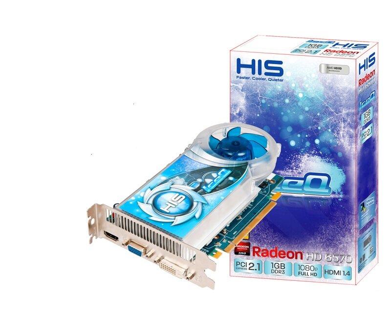 Card đồ họa (VGA Card) His 6570 IceQ H657QO1G - AMD Radeon HD6570, GDDR3, 1GB, 128-bit, PCI-E 2.1