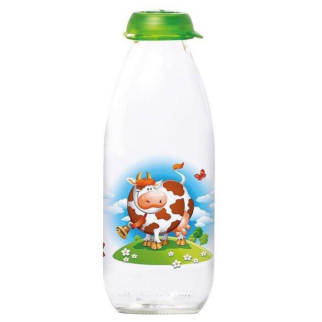 Chai Đựng Sữa Tươi Thủy Tinh Herevin Có Hoa Văn 111708 - 1 Lít