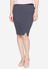 Chân váy bút chì màu đen kẻ ô The One Fashion VDS2151CRS