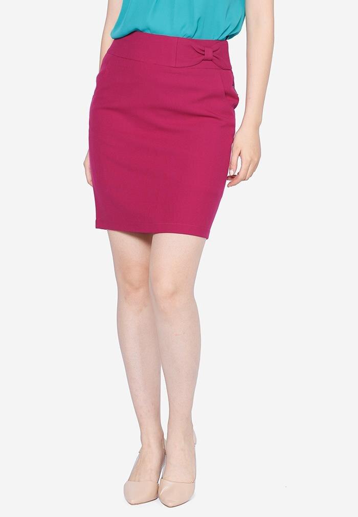 Chân váy ôm cạp đính nơ The One Fashion VH022HTM