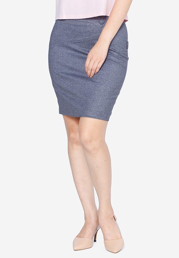 Chân váy ôm cạp lượn phối khuy The One Fashion VDS1891GH3S