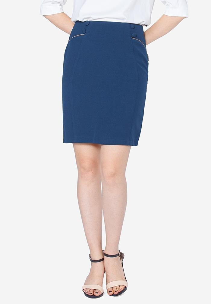 Chân váy ôm xanh cổ vịt The One Fashion VDS1001XD