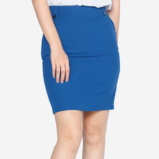 Chân váy ôm xanh dương The One Fashion VDS1851XD