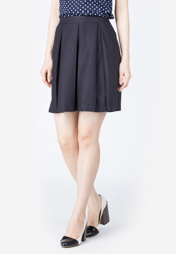 Chân váy xòe Lamer xanh đen xếp ly