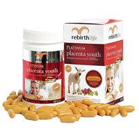 Chiết xuất nhau thai cừu dạng viên uống Rebirth Life Platinum Placenta Youth (3000mg x 60 viên)