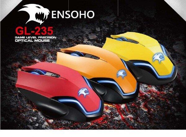 Chuột quang game Ensoho GL-235 R/Y/F (Đỏ/Vàng/Cam)