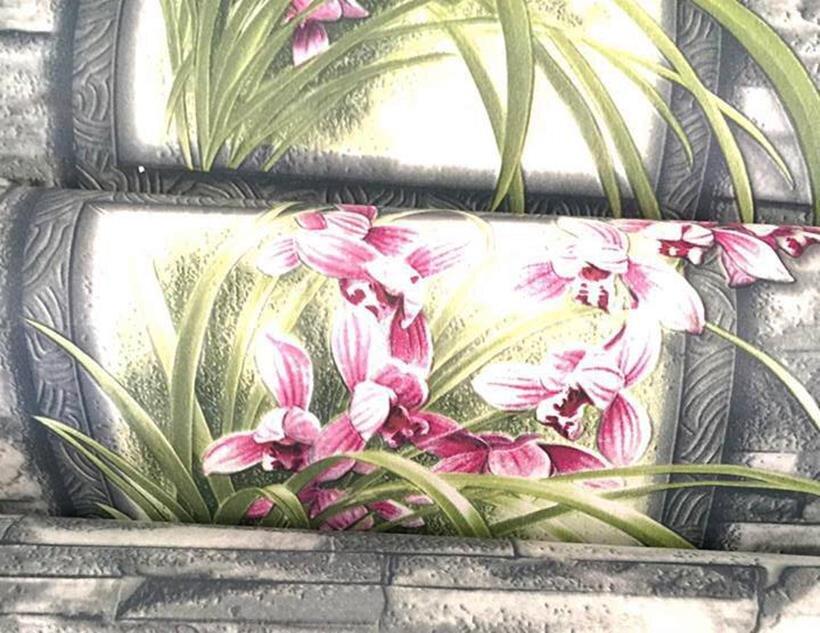 Combo 5m giấy dán tường hoa lan trên nền gạch xám BinBin DTL56