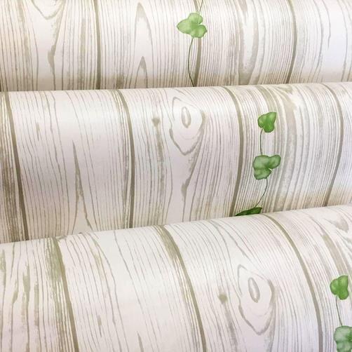 Combo 5m giấy dán tường vân gỗ trắng BinBin DTL48