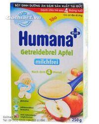 Thức ăn bổ sung: Bột ngũ cốc dinh dưỡng ăn dặm Humana Táo dành cho trẻ sau 4 tháng tuổi có nguy cơ dị ứng (Humana plus + Getreidebrei Apfel) - 250g