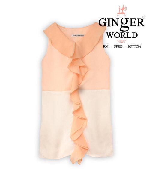 Đầm bé gái Ginger World phối bèo màu cam CD25
