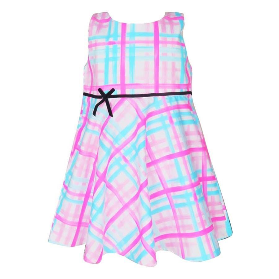 Đầm ca rô xanh hồng hở lưng Cuckeo HC 614