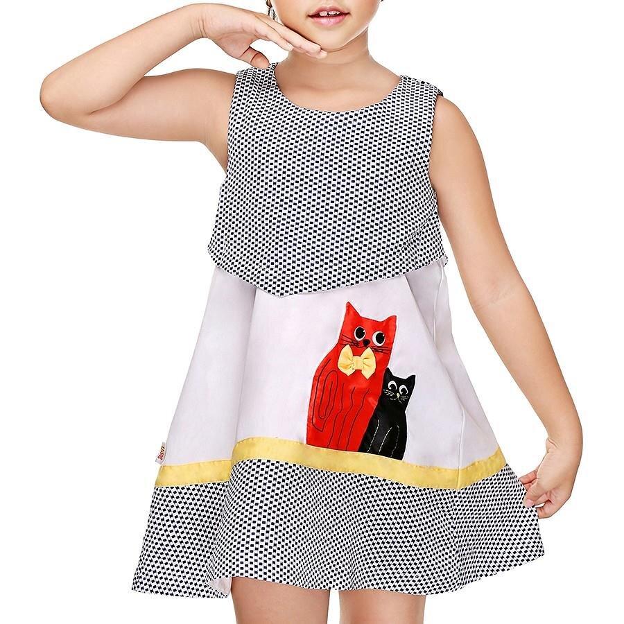 Đầm caro họa tiết con mèo YF 6DX14411