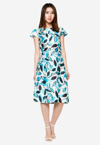 Đầm Hoàng Khanh Fashion xếp ly eo họa tiết xanh da trời HK 167
