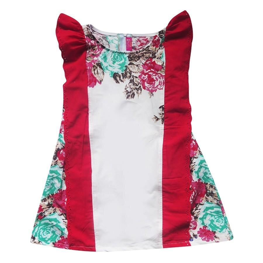 Đầm in hoa bèo vai bé gái Cuckeo HC 498