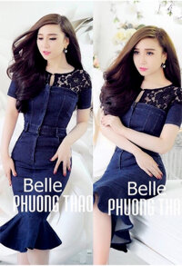 Đầm jean đuôi cá phối ren Bella