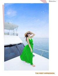 Đầm Maxi đi biển Hai Dây Không Họa Tiết