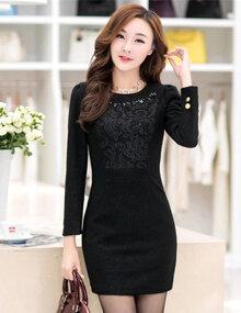 Đầm ôm body màu đen phối ren ngực - A9221