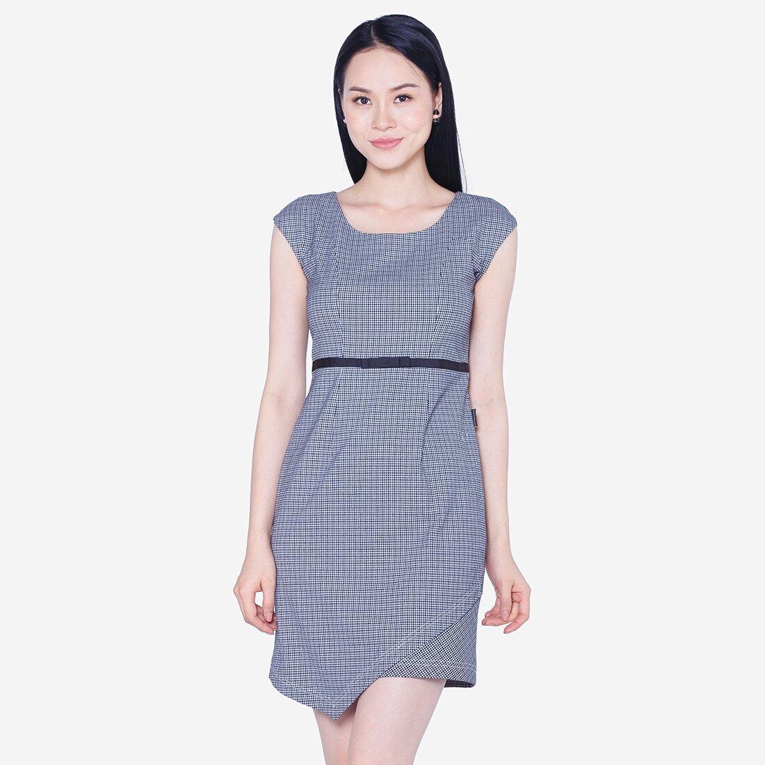 Đầm ôm kẻ sọc phối đai eo The One Fashion D273CRD1