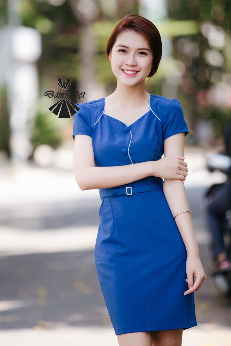 Đầm ôm phối nút Đầm Việt DV290